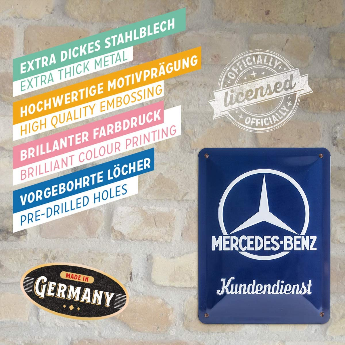 CLASSIC MERCEDES SERVICE SIGN SIZE = 3,5x6 IN PORCELAIN ENAMEL DOOR WALL EMAILLE