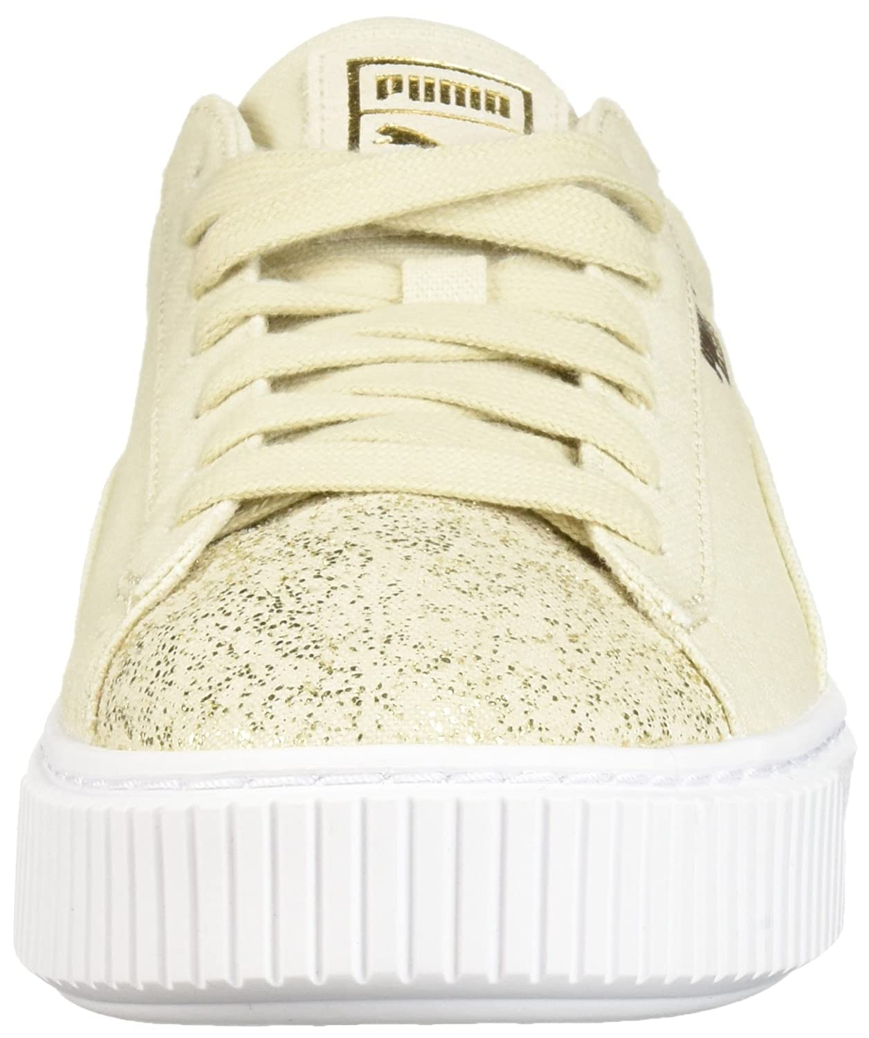 PUMA Women's Basket Platform Canvas Wn Sneaker, Birch Team