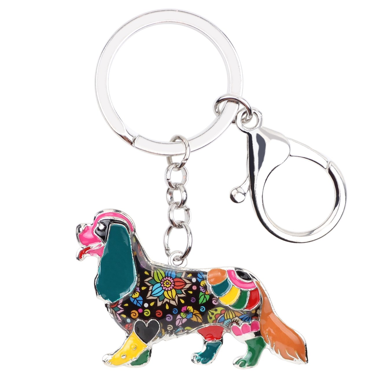 Enamel Alloy Chain Cavalier King Charles Spaniel Dog Key Chains For Women Girl Car Purse bag Charms Gift (Multicoloured)