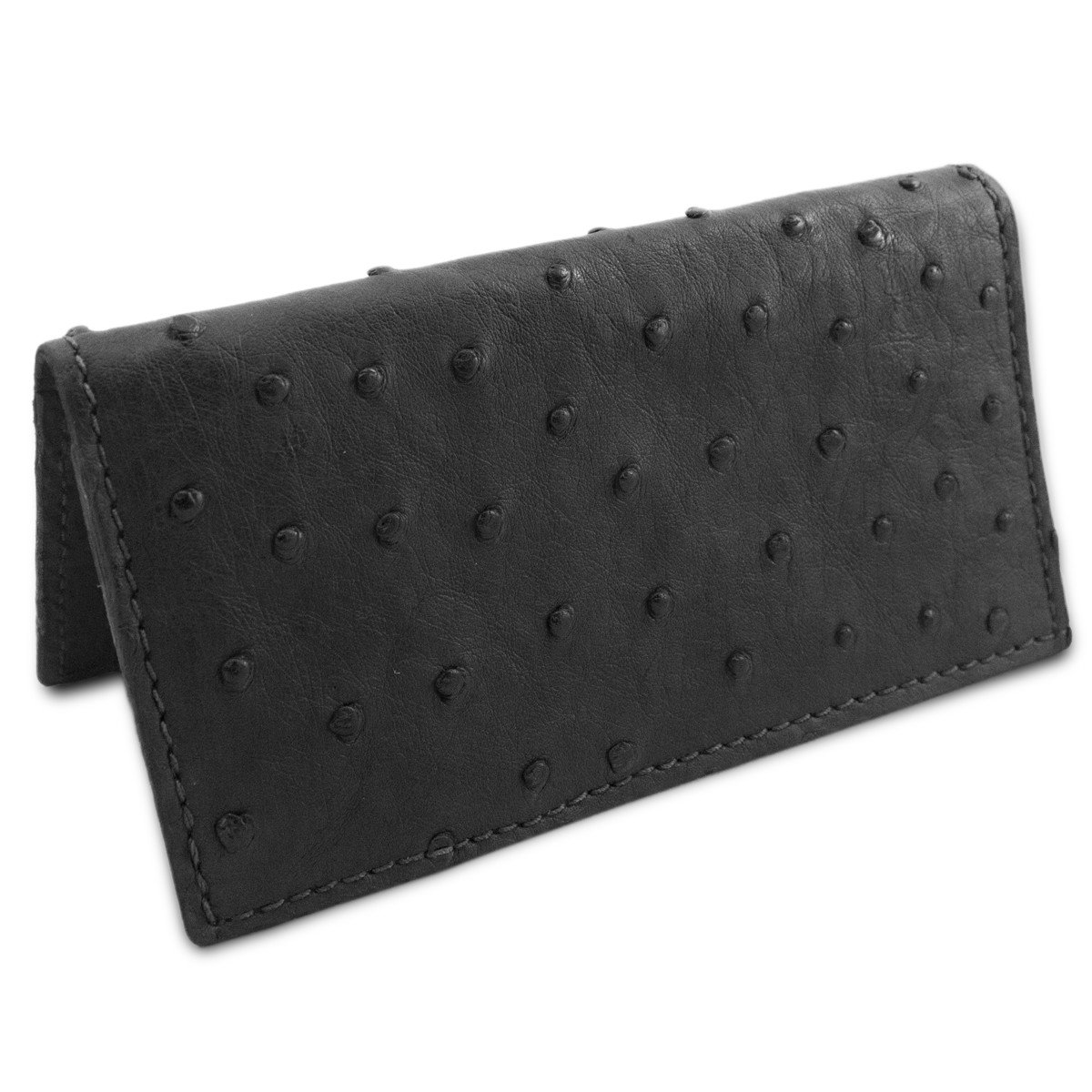 Black Genuine Ostrich Skin Leather Checkbook Cover USA Handmade