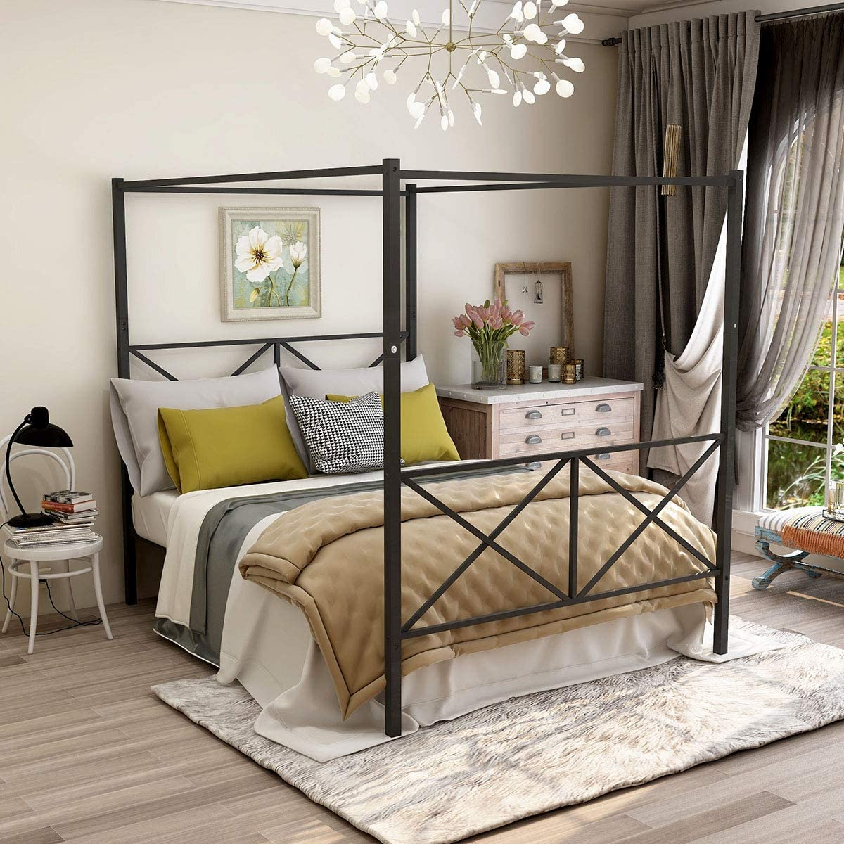 JURMERRY Full Size Metal Canopy Bed Frame with Ornate European Style Headboard & Footboard Sturdy Black Steel Holds 660lbs Perfectly Fits Your Mattress Easy DIY Assembly,Full Black