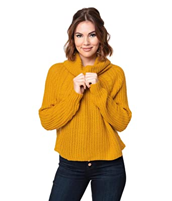 0376230c0 Unique Vintage Mustard Yellow Cable Knit Turtleneck Long Sleeve Crop ...