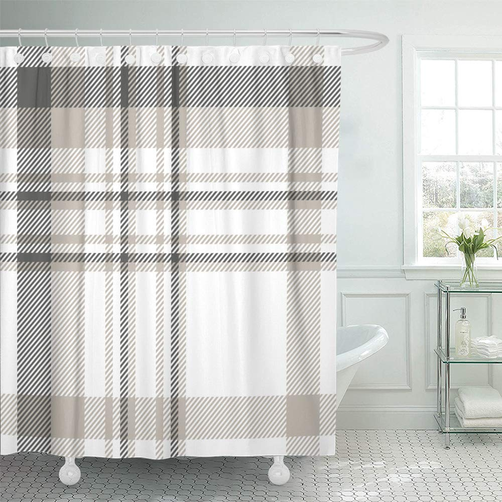 Emvency Shower Curtain Set Waterproof Adjustable Polyester Fabric Beige Check Plaid Pattern in Dark Gray Light Taupe and White Brown Grey 72 x 72 Inches Set with Hooks for Bathroom