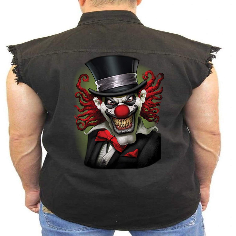 Juiceclouds Crazy Clown Sleeveless Denim Vest Liquid Blue