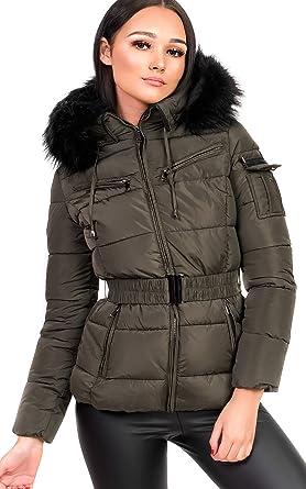 2d9e59bec03b7 Ikrush Womens Hadid Padded Faux Fur Hooded Jacket Khaki  Amazon.co.uk   Clothing