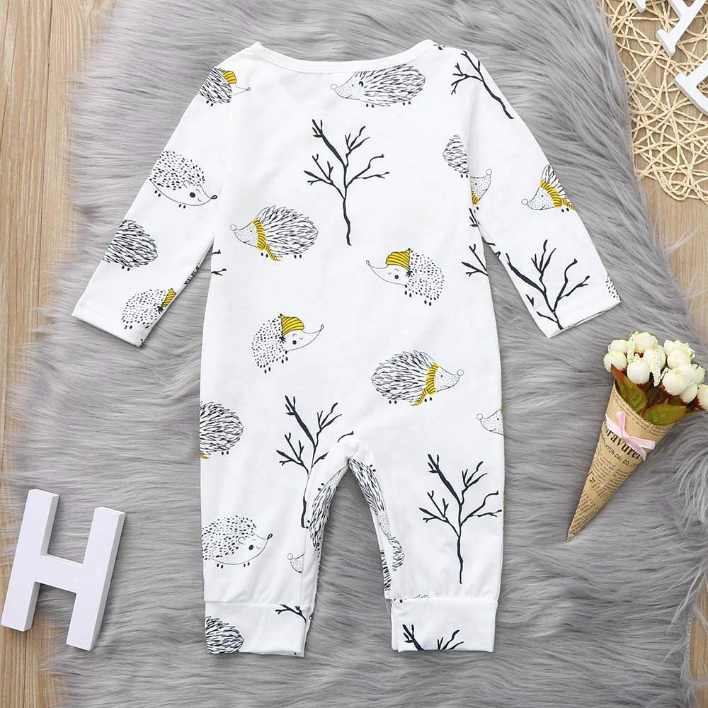 XEDUO Toddler Newborn Baby Long Sleeve Cartoon Hedgehog Romper Jumpsuit Clothes