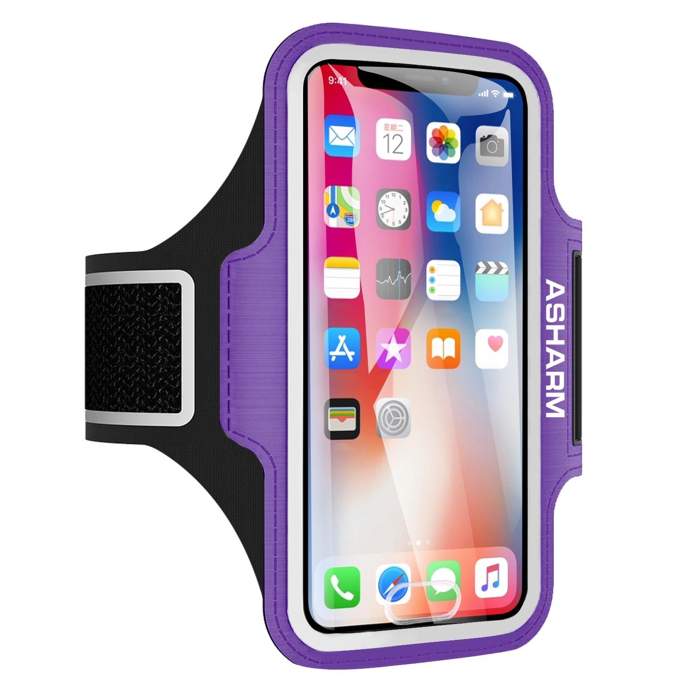 ASHARM Sport Armband, Handy Armband Fitness Universell für Laufen mit Schlüsselhalter, Kabelfach und Kartenhalter, für iPhone 8/7/6/6S/5/5S/SE,Galaxy S7/S6/S5 bis 5.8 Zoll- Rosa