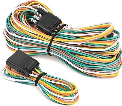 Amazon.com: Nilight - 10039W 4 Pin Flat Trailer Wiring Harness Kit 18AWG  25Feet Male 4Feet Female Wishbone-Style Wiring Harness Extension kit for  Utility Boat Trailer Lights: Automotive | Split 4 Pin Trailer Wire Harness |  | Amazon