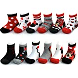 Disney Baby Girls Assorted Minnie Mouse Designs 12 Pair Socks Variety Set, Age 0-24 Months