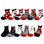 Disney Baby Girls Assorted Minnie Mouse Designs 12 Pair Socks Variety Set, Age 0-24 Months (0-6 Months, Black-Red-White Collection)