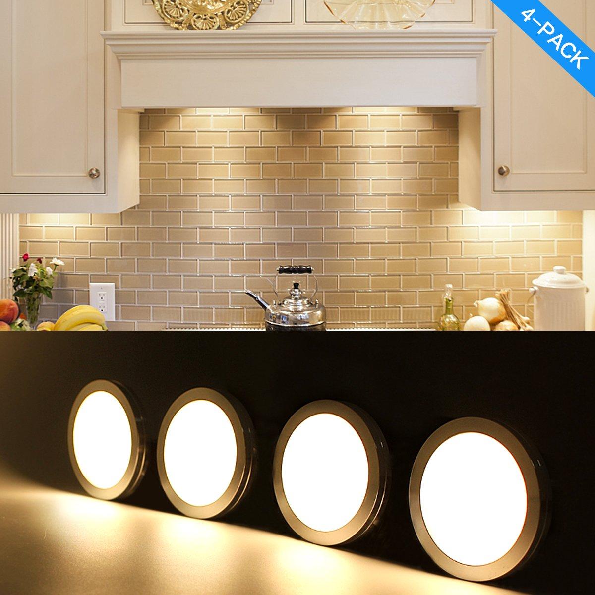 counter kitchen lighting. LED Under Cabinet Lighting Kit 700lm Puck Lights Counter Kitchen Lighting,Closet Light ,Shelf Lighting,3000K Warm White CRI\u003e80,Backed 3M Tape,UL R