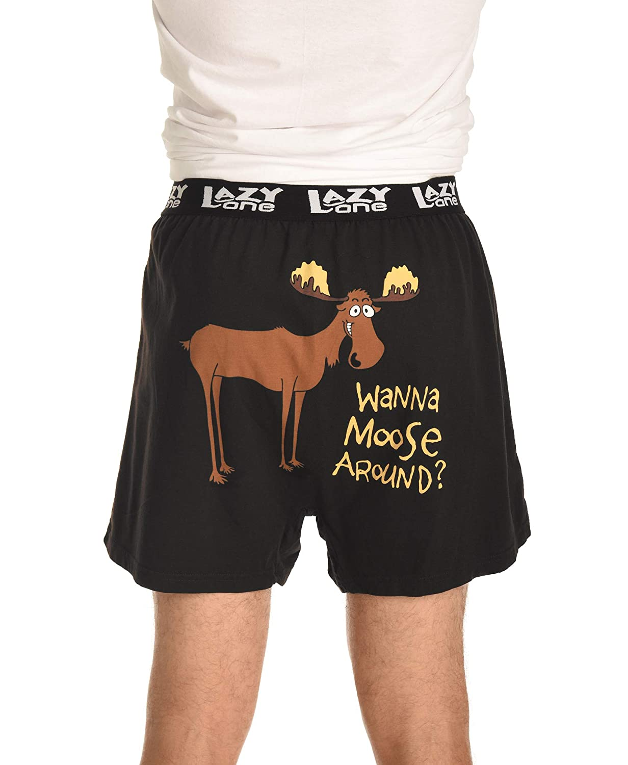 Soft Comical Boxers for Men by LazyOne Large Funny Mens Boxers Wanna Moose Around