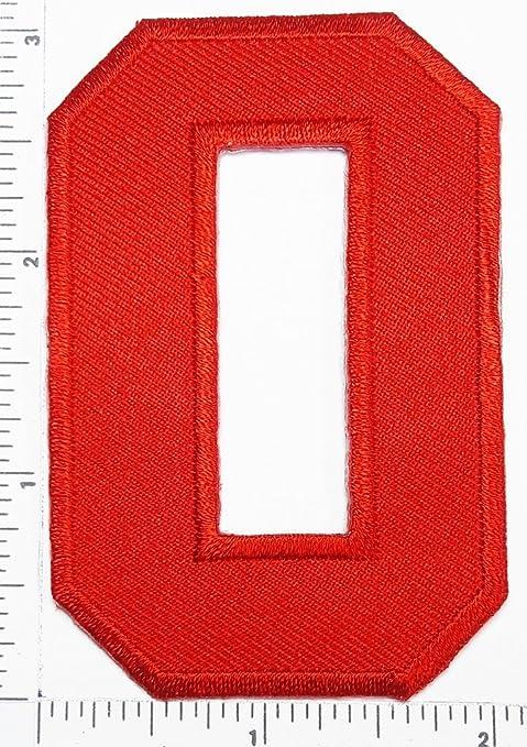 Parche rojo número 0 Número cero Counting Logo carta escuela ...