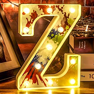 Sweet LED Letter Lights Light Up Letter Signs - Kids Night Light Party Wedding Event Birthday Bar Home Decoration (Warm White Z)