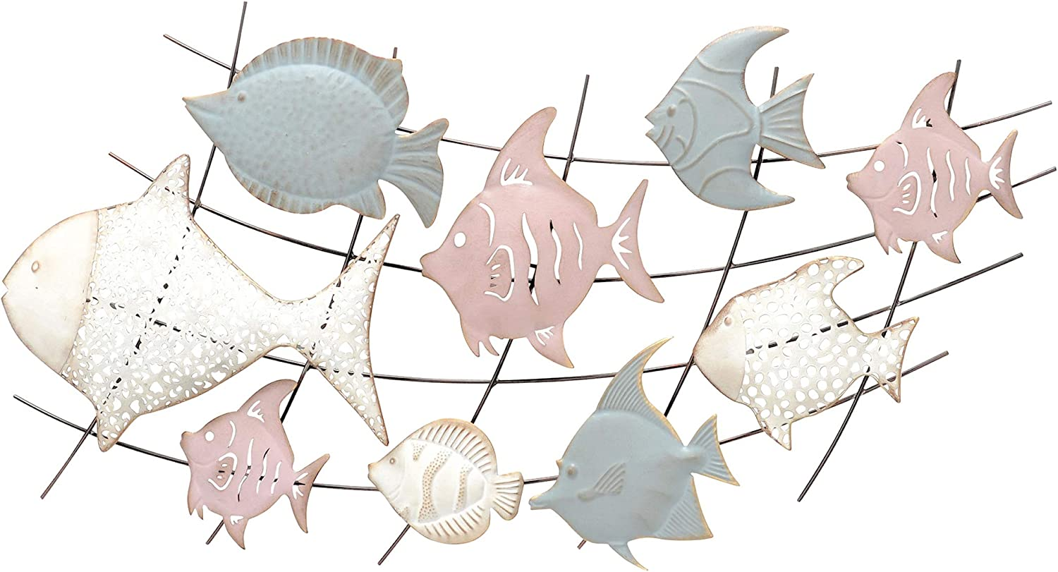 WHW Whole House Worlds 9 Swimming Fish, Vintage Metal Wall Decor, Pastel Pink, Blue and Ivory, Rustic Coastal Style, Iron, 33.5 Inches Wide