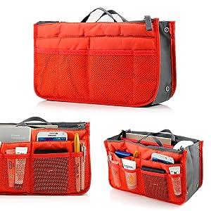 GEARONIC TM Lady Women Travel Insert Organizer Compartment Bag Handbag Purse Large Liner Tidy Bag- Orange
