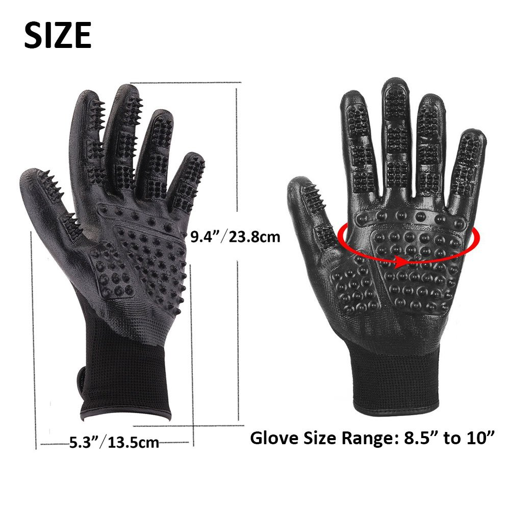 RoyalCare Pet Grooming Glove Gentle Deshedding Pet Brush Glove - Pet Hair Removal Mitt with Enhanced Five Finger Design for Long & Short Fur Dogs Cats Horses Rabbits - 1 Pair (Black) by RoyalCare (Image #3)