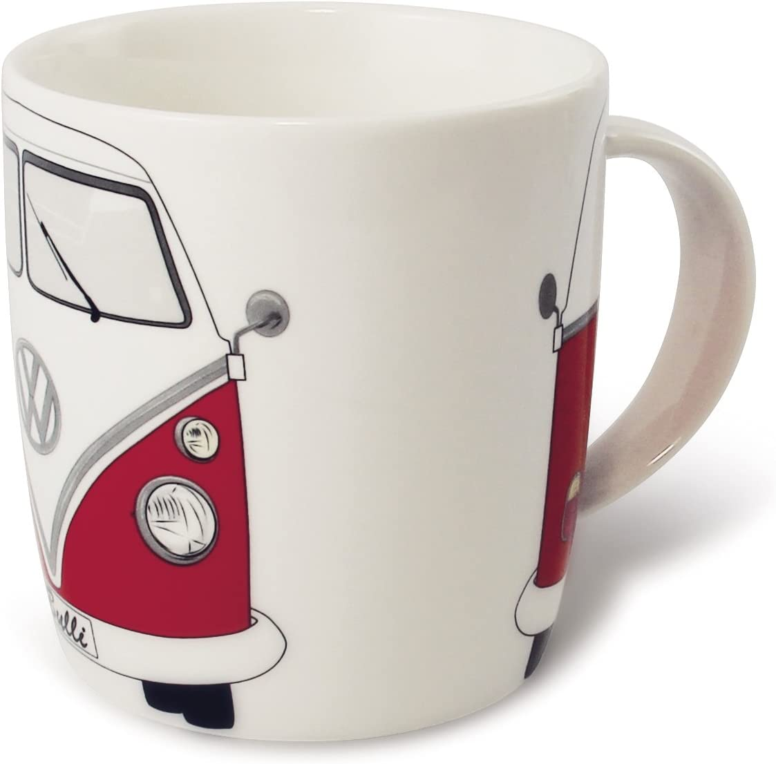 BRISA VW Collection - Volkswagen Samba Bus T1 Camper Van Coffee Mug, Tea Cup for Kitchen, Garage, Office - Camping Equipment/Gift-Idea/Souvenir (Design: Front/Red/White)