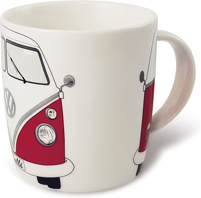 BRISA VW Collection - Volkswagen Samba Bus T1 Camper Van Coffee Mug, Tea Cup for Kitchen, Garage, Office - Camping Equipment/Gift-Idea/Souvenir (Design: Front/Red/White)