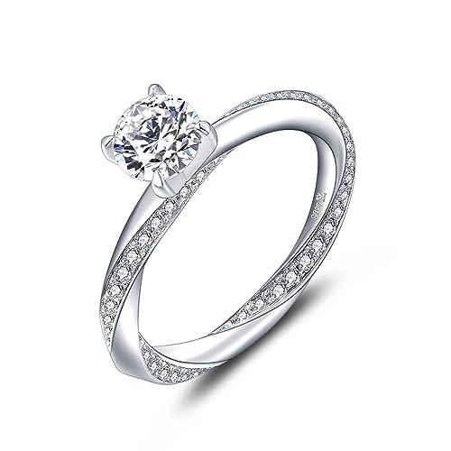 comprare popolare a1fe5 5f79f YL Anello di fidanzamento-Argento sterling 925 da donna 6mm 1.42 Carat AAA  Cubic Zirconia Fede nuziale per la sposa