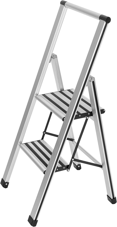 Aluminium WENKO  Escabeau pliant design en aluminium 4 marches Argent mat 44 x 153 x 5.5 cm
