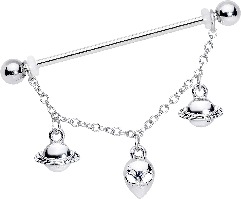 "Body Candy Womens 14G 316L Steel Helix Cartilage Earring Saturn Alien Chain Dangle Industrial Barbell 1 1/2"""