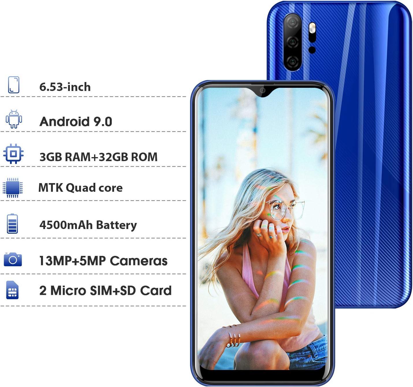 Moviles Libres 4g, Smartphone Libre Dual SIM 6.53 Pulgadas P30 Plus(2020) 3GB+32GB/128GB 4300mAh Full-Screen Android 9.0 Quad Core Cámara 13MP+5MP Moviles Buenos (Azul): Amazon.es: Electrónica