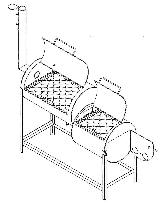 1307 Trailer Plan - 32''x20'' Smoker DIY How-to Blueprint by Master Plans & Design