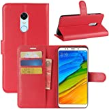 Xiaomi Redmi 5 Plus Case PU Leather Wallet Flip Phone Protective Case Cover with Card Slots for Xiaomi Redmi 5 Plus RED