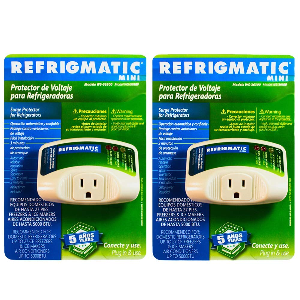 Refrigmatic WS-36300 Electronic Surge Protector for Refrigerator – Up to 27 cu. ft. (2 Pack)