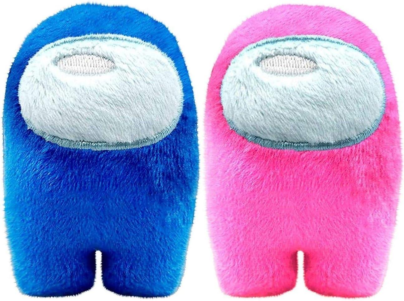 Among Us Game Plush Toys   Soft Stuffed Animals Imposter Plush Squeak Plushie Figure 3.9inch (Blue Pink)