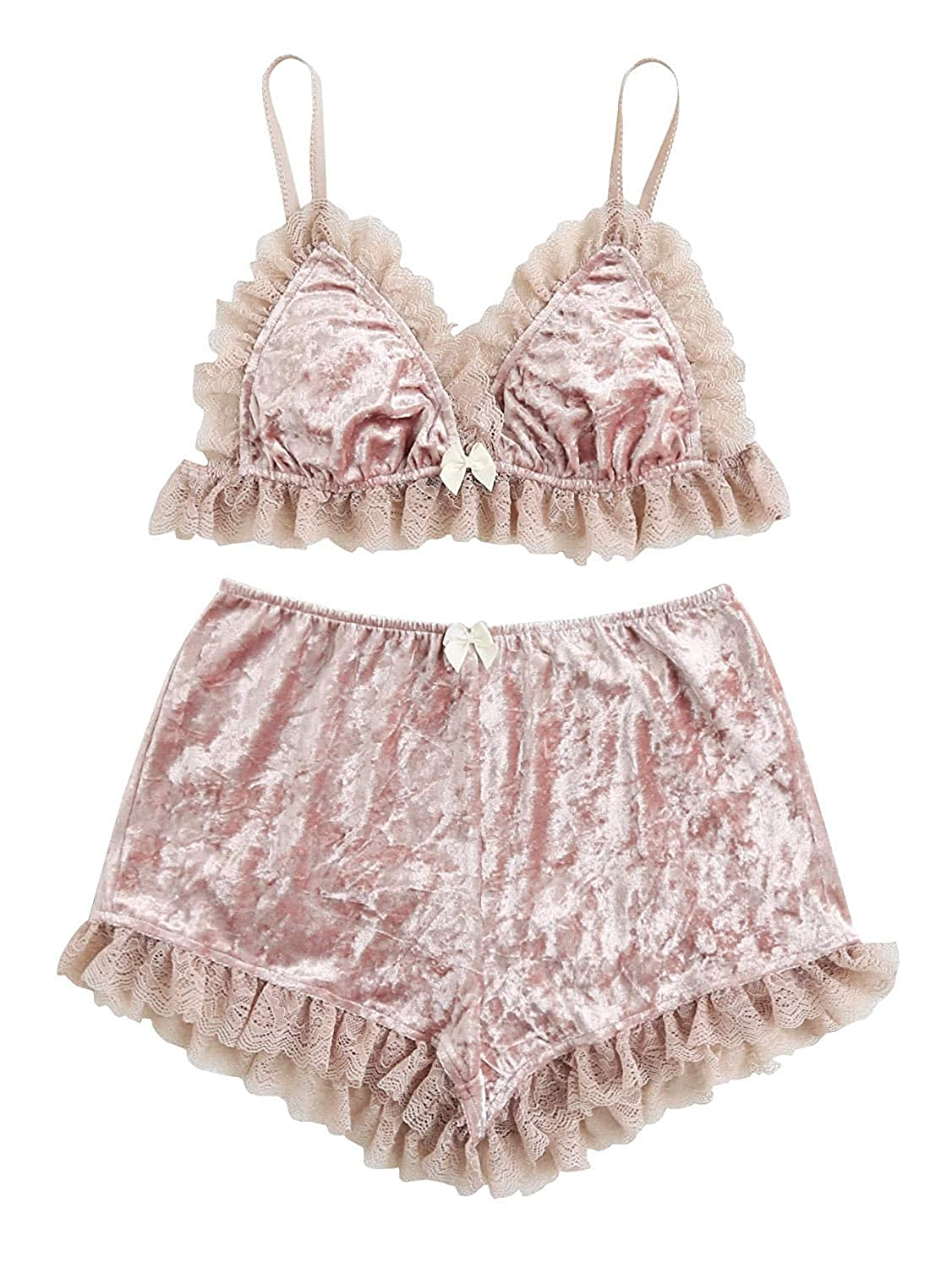 7932080b0 Lace Trim Velvet Bralette and Shorts Pajama Set Romper Teddy Nightwear  Dresses Lingerie Women s( Pink