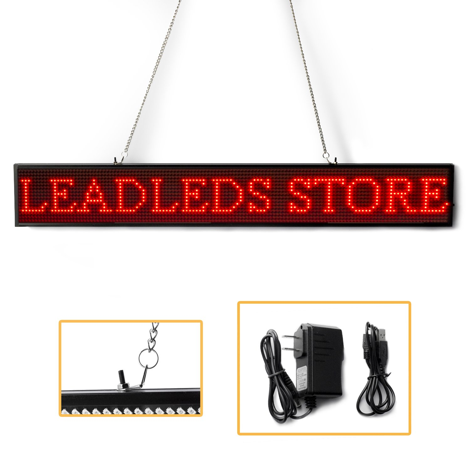 Leadleds P5 SMD Red LED Sign Board, WiFi and USB Programmable Scrolling Message Signs Open for Store, Bar, School, Business