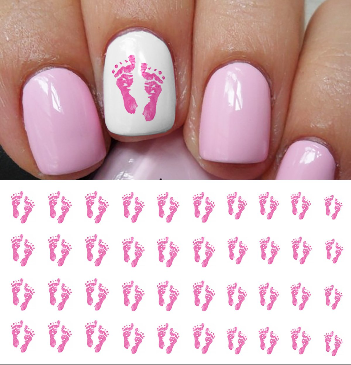 Pink Baby Footprints Water Slide Nail Art Decals   Salon Quality Great Gift  For Baby Shower