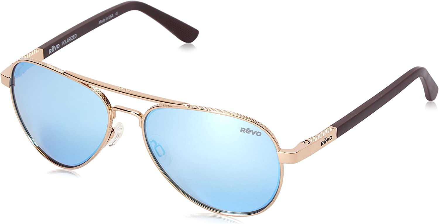 Revo Mens Polarized Sunglasses Raconteur Aviator Frame 58 mm, Gold Frame, Blue Water