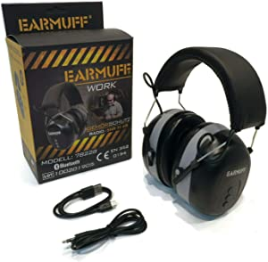 EarMuff Black, Wireless Headset, 31 Decibels with Bluetooth & AUX Port Connector