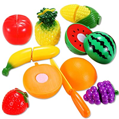 Liobaba Play Cutting Food for Kids,9 Pcs Kitchen Toys Fun Cutting Fruits Vegetables with Pizza Play Food Set Pretend Cutting Food Playset for Children Girls Boys: Toys & Games