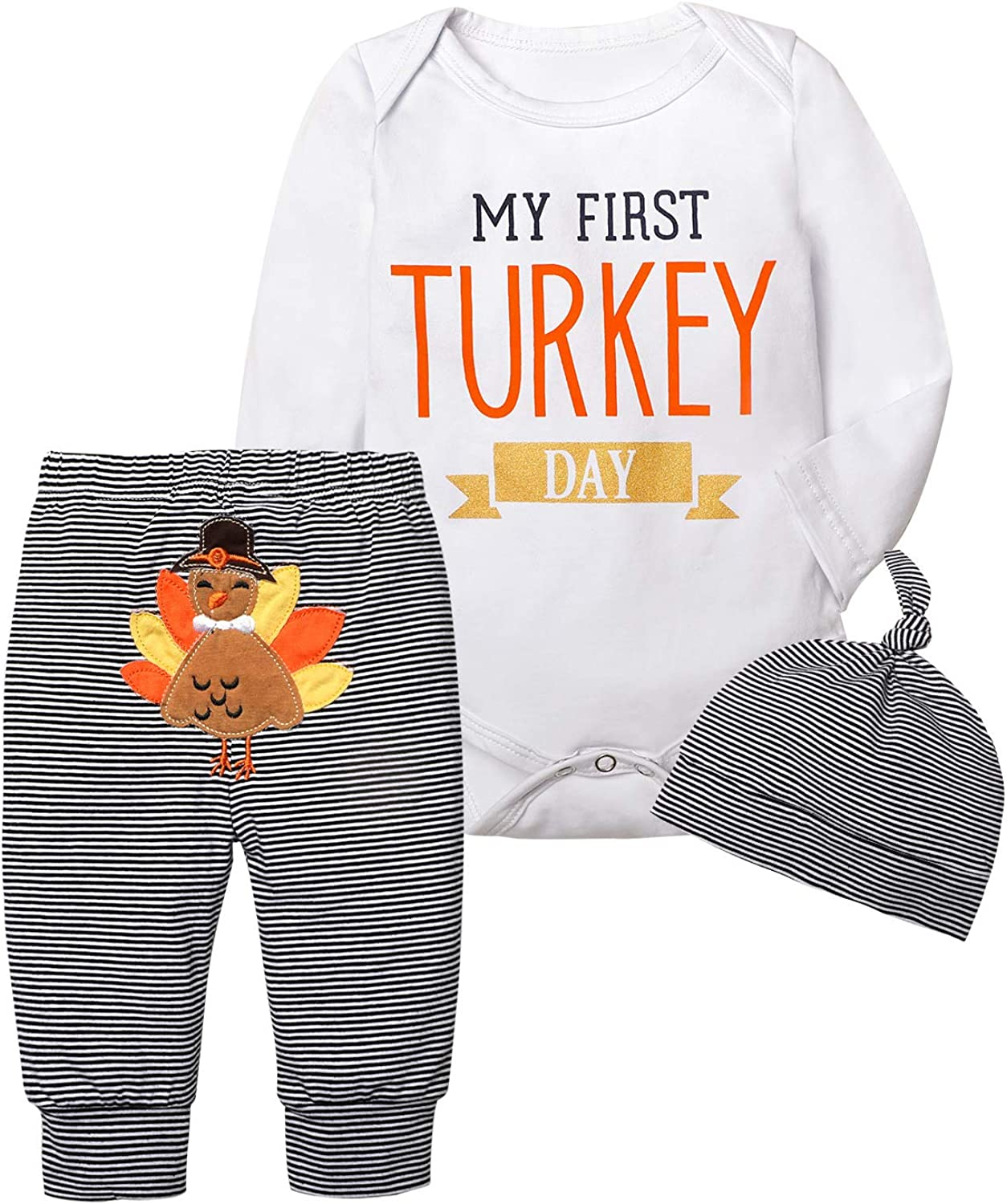 Aixin Toddler Baby Boys Girls Thanksgiving Outfit My First Thanksgiving Romper Bodysuit Stripe Hoodie Jumpsuit Pajamas 0-18M