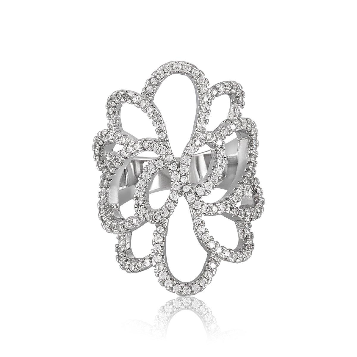 Rings for Girls shaze Rhodium Plated Cocktail Blush Ring for Women|Rings for Women