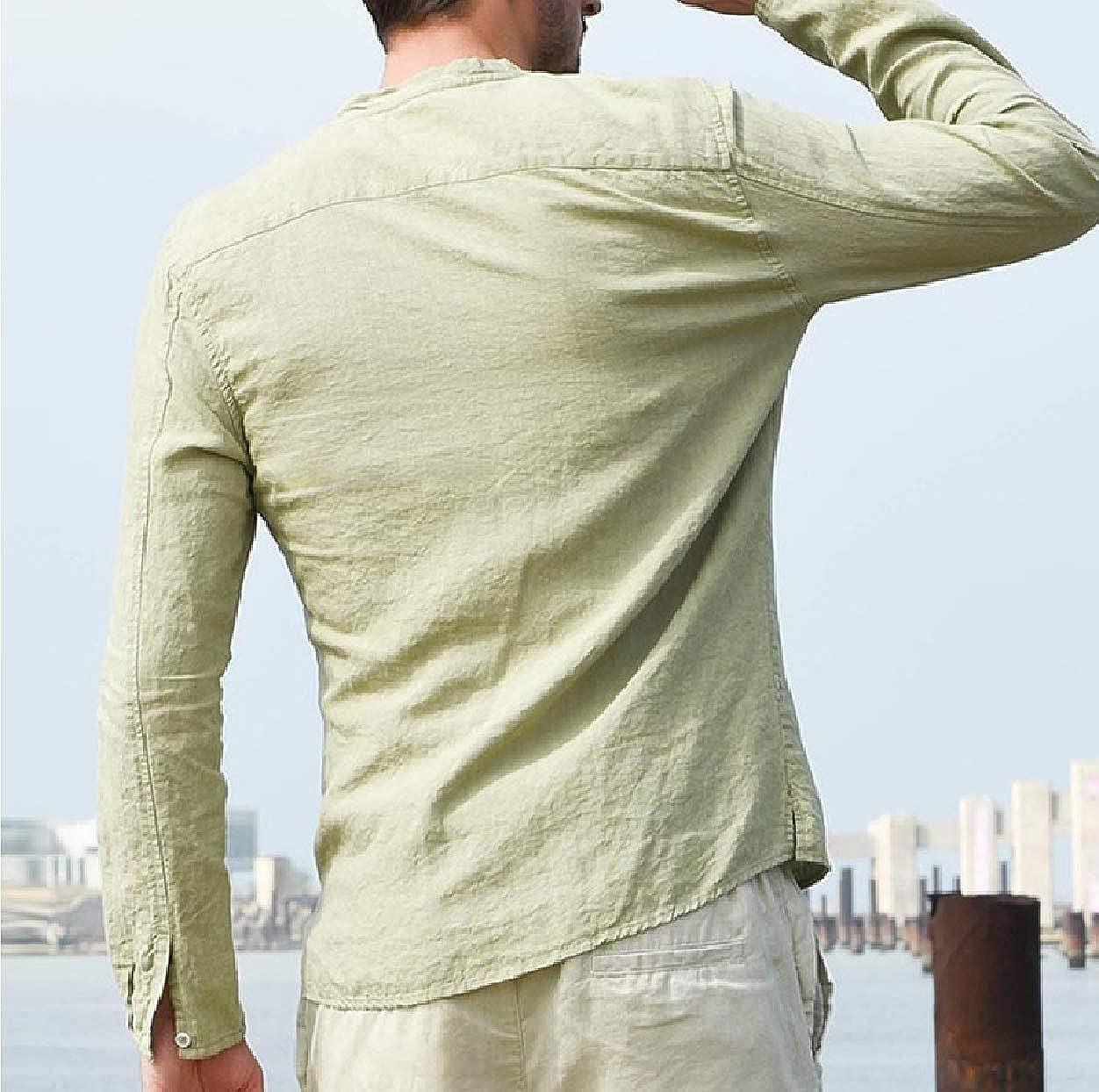 Abetteric Mens Long-Sleeve Crew Neck Button Casual Linen Western Shirt
