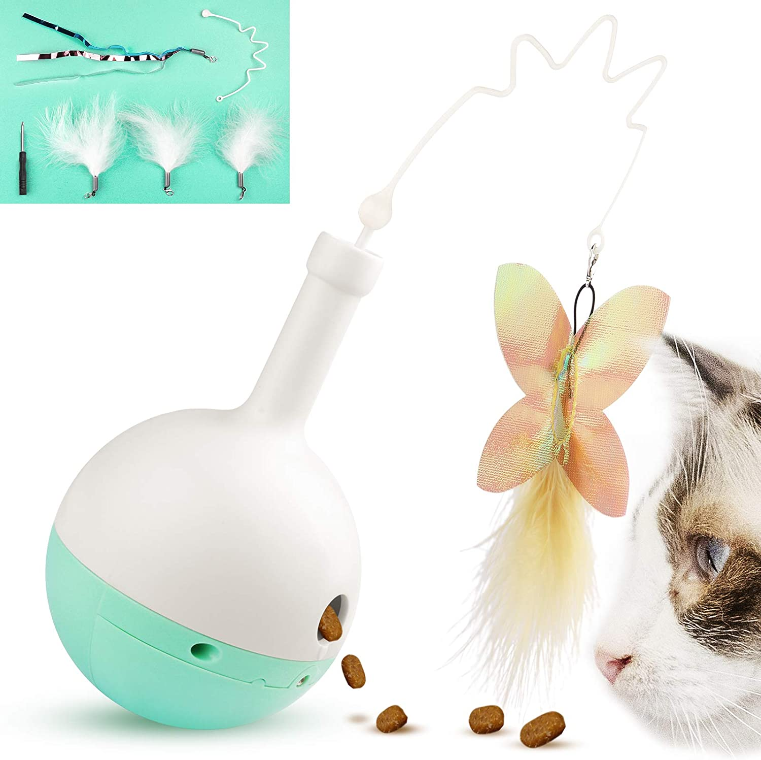Melonva Interactive Cat Treat Dispenser Toy, 4 Refills Cat Treat Toy with Butterfly and Feather, Wobbly Kitty Toys, Automatic Bottle Teaser with Built-in Food Cabin