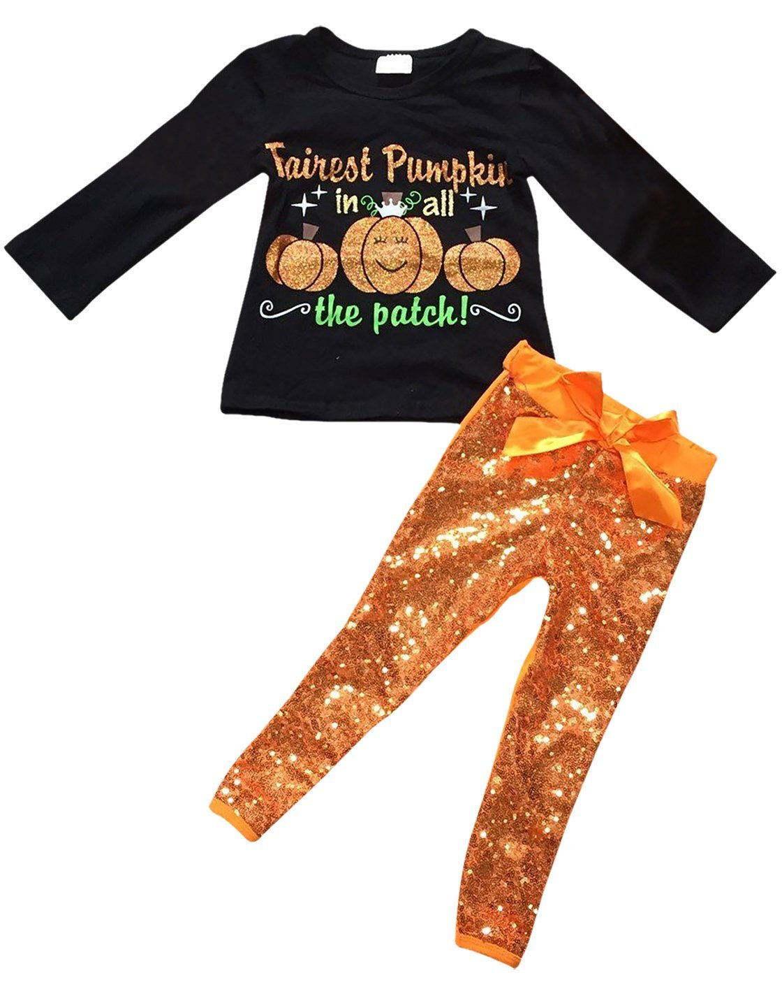 Little Girls' 2 Pieces Pant Set Halloween Pumpkin T-Shirt Top Sequin Kids Outfit Black 4 M (P501670P)