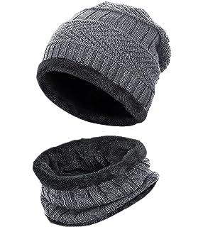 Bonnet Hiver Chapeau Beanie Écharpe Tour de Cou Doublure Polaire Tricot  pour Homme Femme Unisexe Chaude f15cda9379a