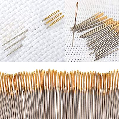 30x Hand Sewing Needles Gold Eye Embroidery Cross Stitch Needles With ThreadYJdn