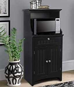 OS Home and Office Coffee Maker Utility Cabinet in Black kitchen microwave cart