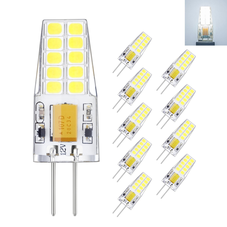 Rayhoo 10pcs G4 base LED Light Bulb 12V 3 Watt AC DC 10-20V, Non-dimmable, Equivalent to 30W T3 Halogen Track Bulb Replacement LED Bulbs, White 6000K