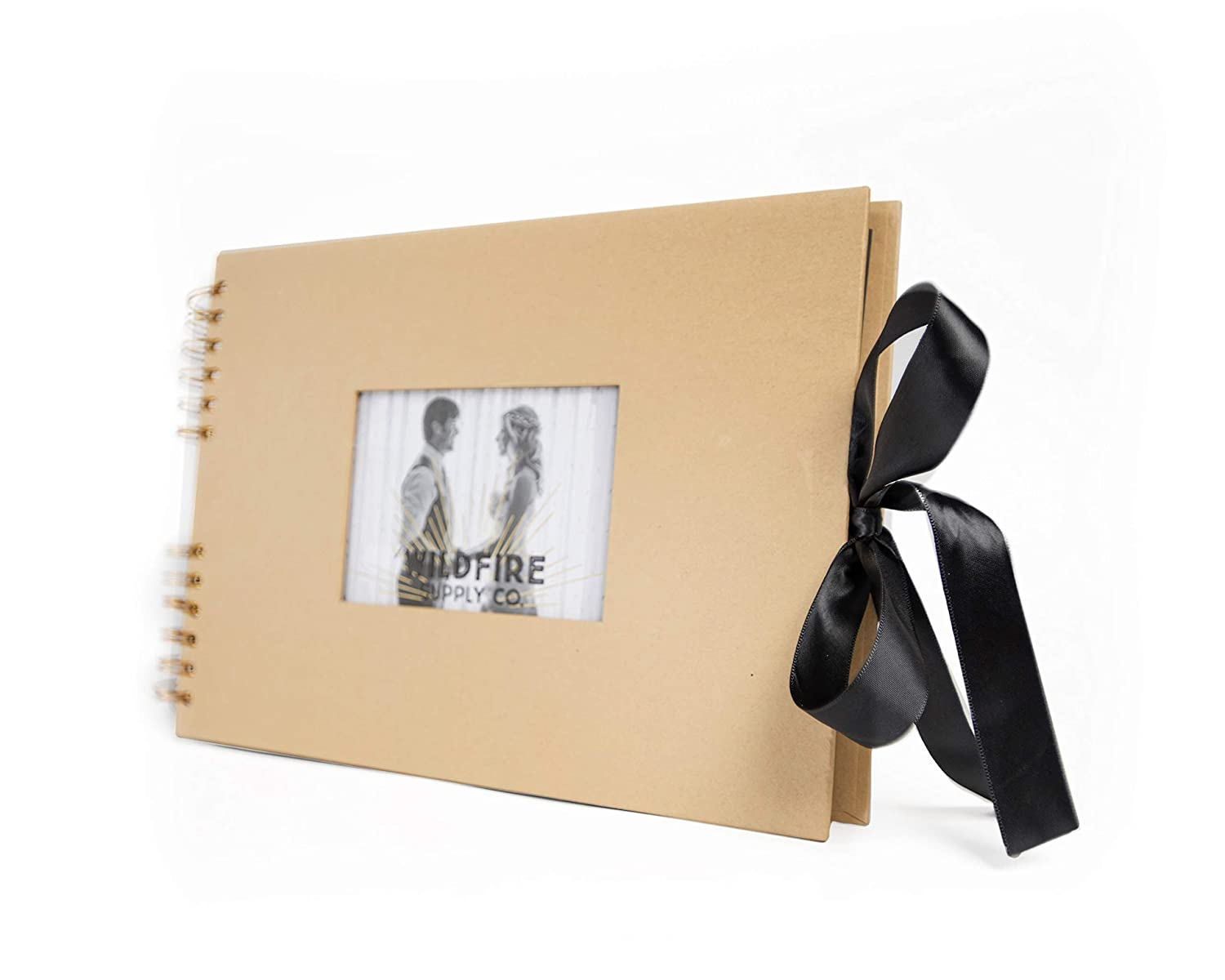 """Luxurious Scrapbook Photo Album with Wrinkle-Free Ribbon Closure - Elegant Scrapbooking Memory Album with 4"""" x 6"""" Front Cover Insert - DIY Wedding, Anniversary, Guest, Family, Baby Scrap Book Journal Wildfire Supply Co."""