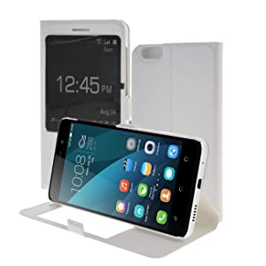 Honor 4X Case,MEIRISHUN Slim Thin View Window Flip PU Leather Cover Folio Wallet Case Protective Skin with Stand Feature for Huawei Honor 4X - White