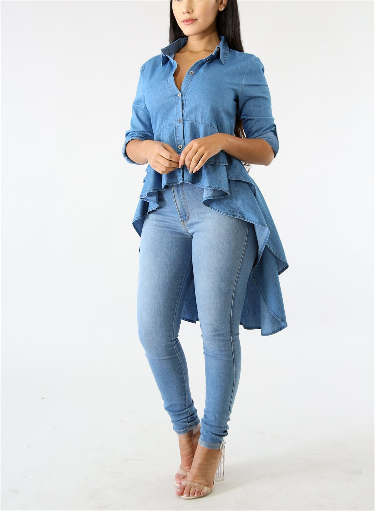 Fashion Cluster Womens Summer Long Sleeve Denim Blue Irregular High Low Hem Buttom Down Tunic Tops Blouse Boho Maxi Polo Shirt Dress XXL by Fashion Cluster (Image #2)