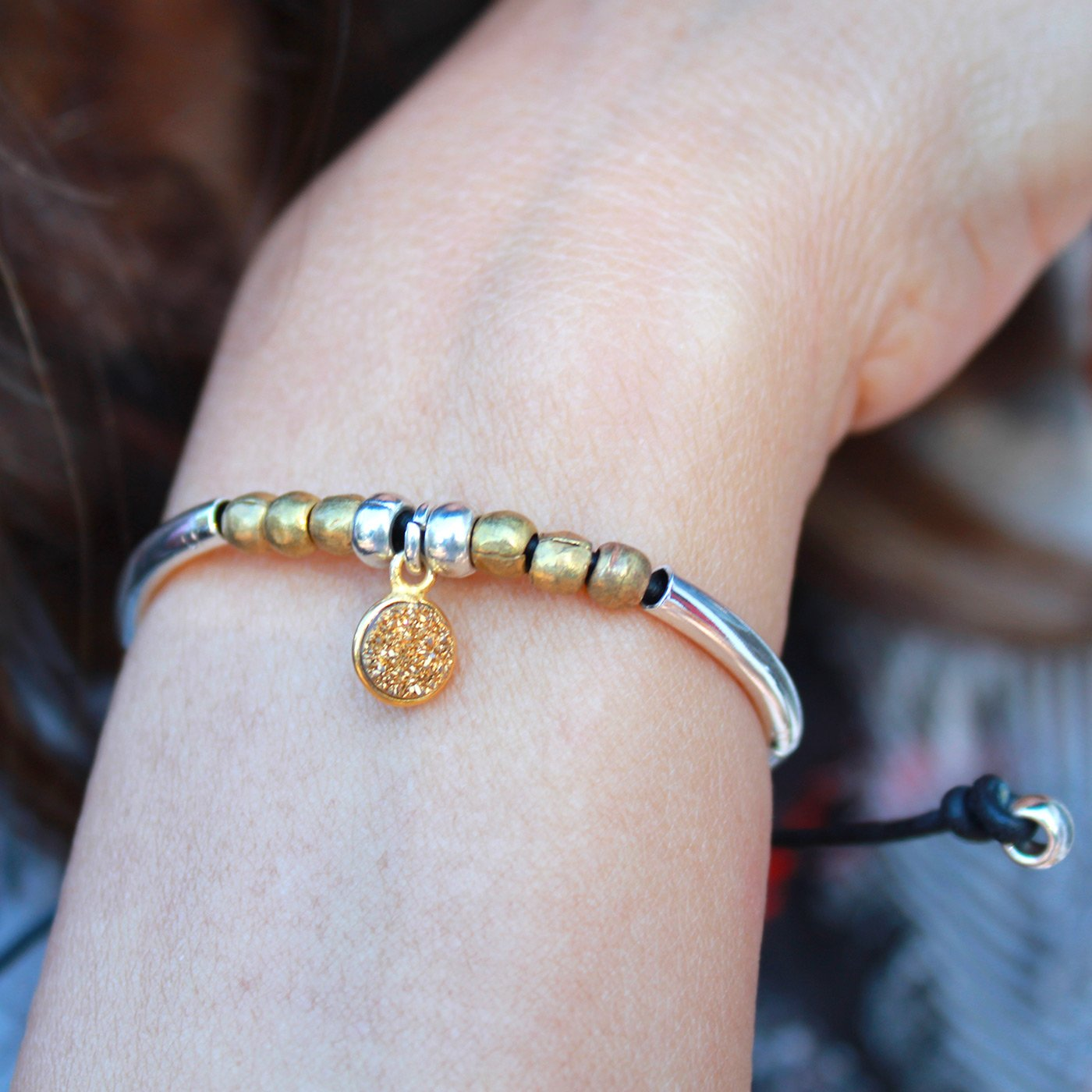 Lizzy James Healing Single Strand Adjustable Silver and Rose Gold Plated Black Leather Charm Bracelet w Round Cross Charm